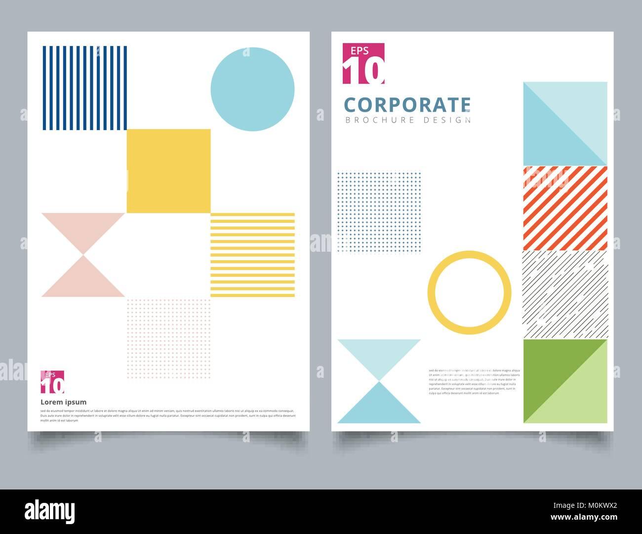 Broschüre Design vorlage, Flyer Abdeckung geometrischen Quadrat ...