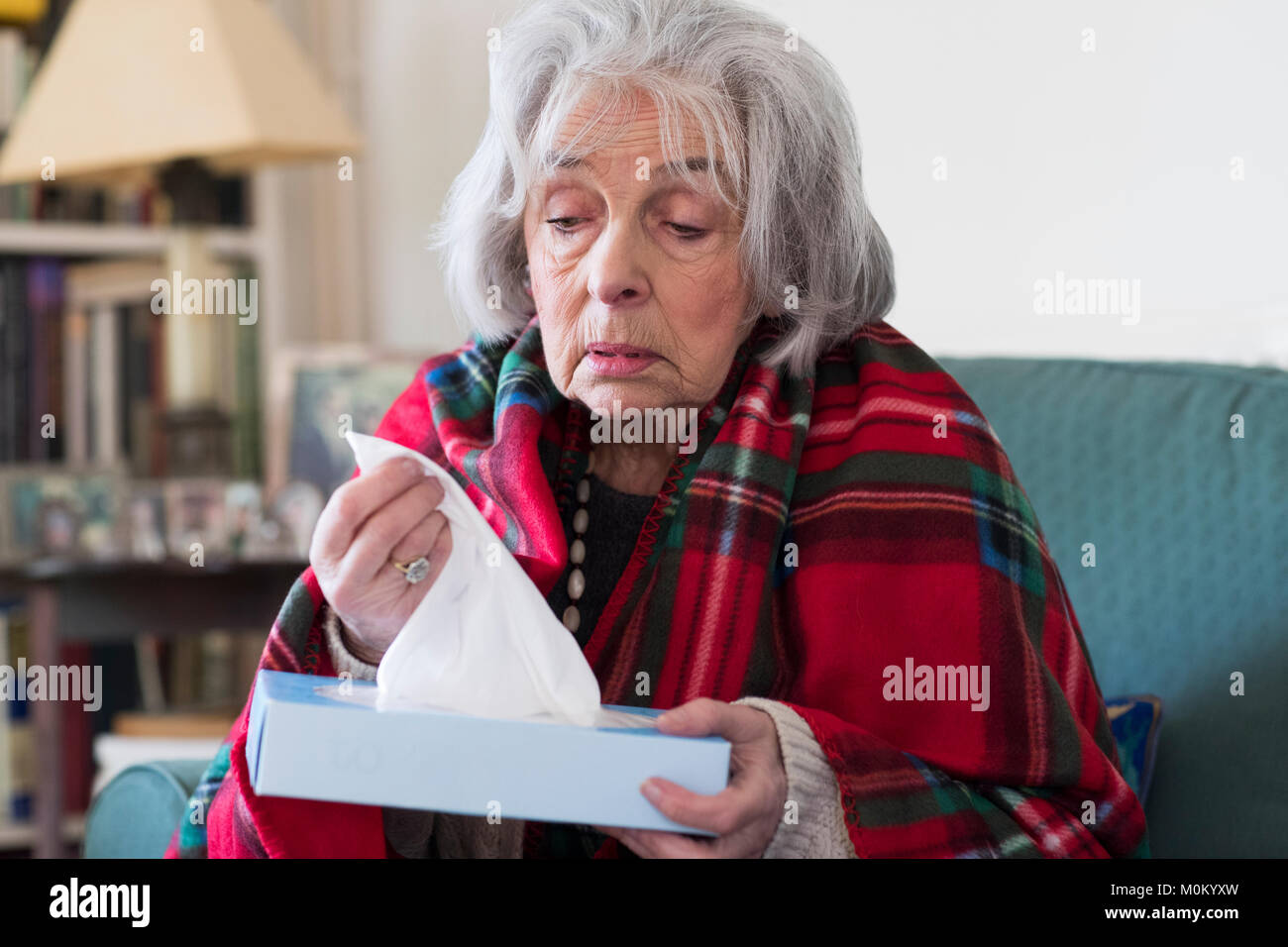 Ältere Frau zu Hause mit Grippe leiden Stockbild