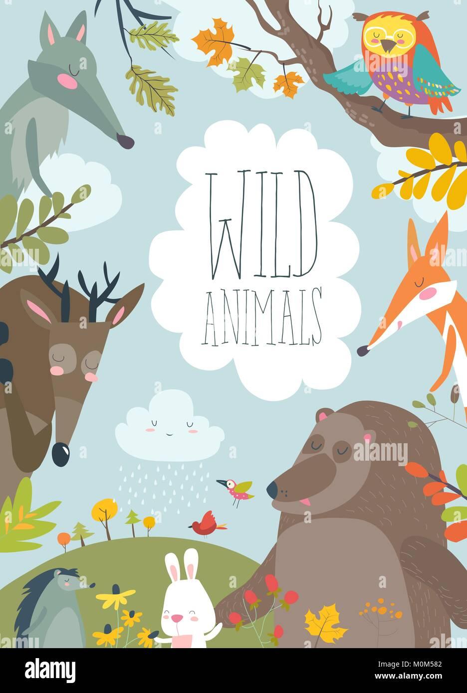 Natur Rahmen mit Bäumen, Tieren und Vögel Vektor Abbildung - Bild ...