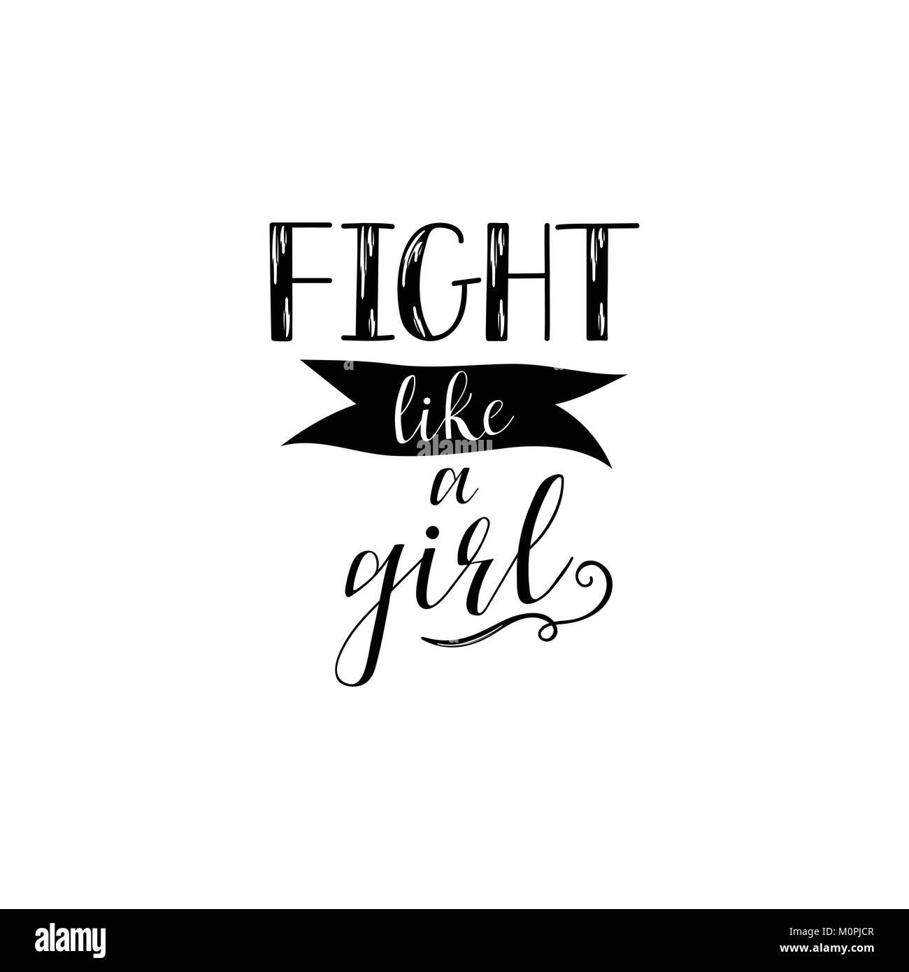 Kampf wie ein Mädchen Hand Schrift auf weißem Hintergrund ...