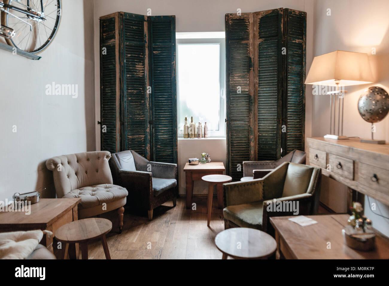 Interieur aus einem Cafe Stockbild