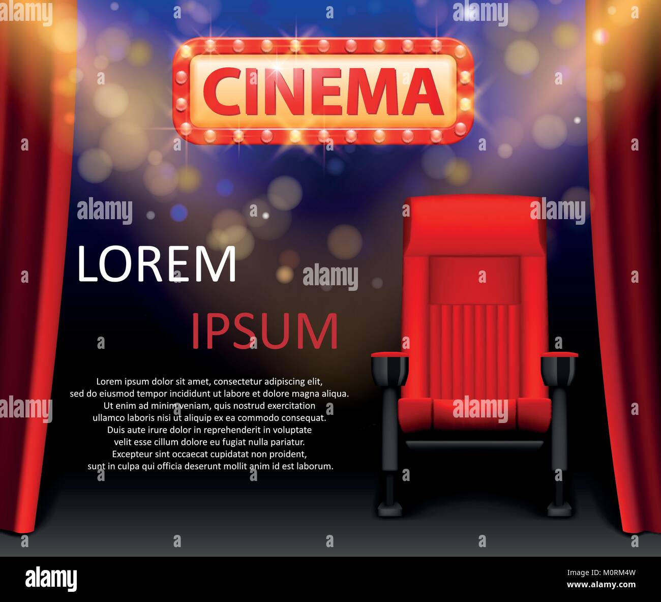 Kino Design mit Lichtern Szene und rote Sitze im Retro Style. Poster ...