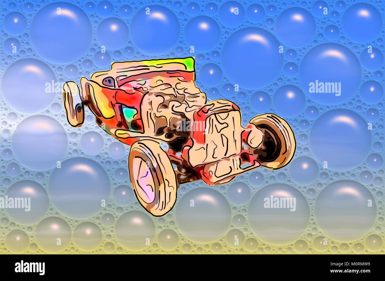 3273c33a15de78 Bild lustige cartooned rot antik Cabriolet in einem großen blauen  Seifenblasen