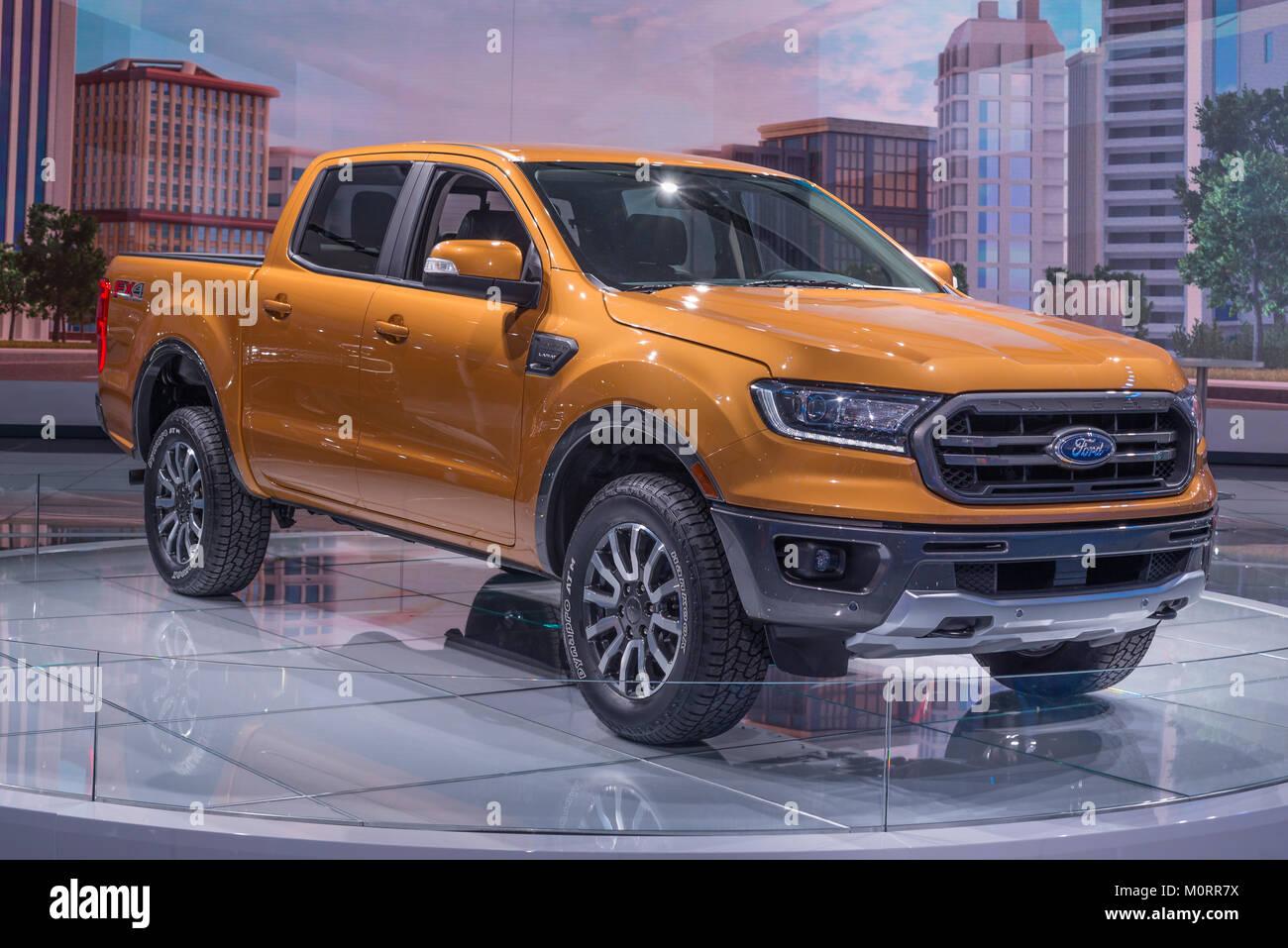 Detroit Mi Usa Januar 15 2018 A 2019 Ford Ranger Lariat Fx4 Lkw Auf Der North American International Auto Show Naias Stockfotografie Alamy