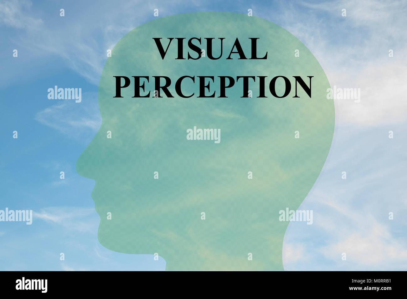 Render Abbildung der visuellen Wahrnehmung Titel auf dem Kopf silhouette, mit bewölktem Himmel als Hintergrund. Stockbild