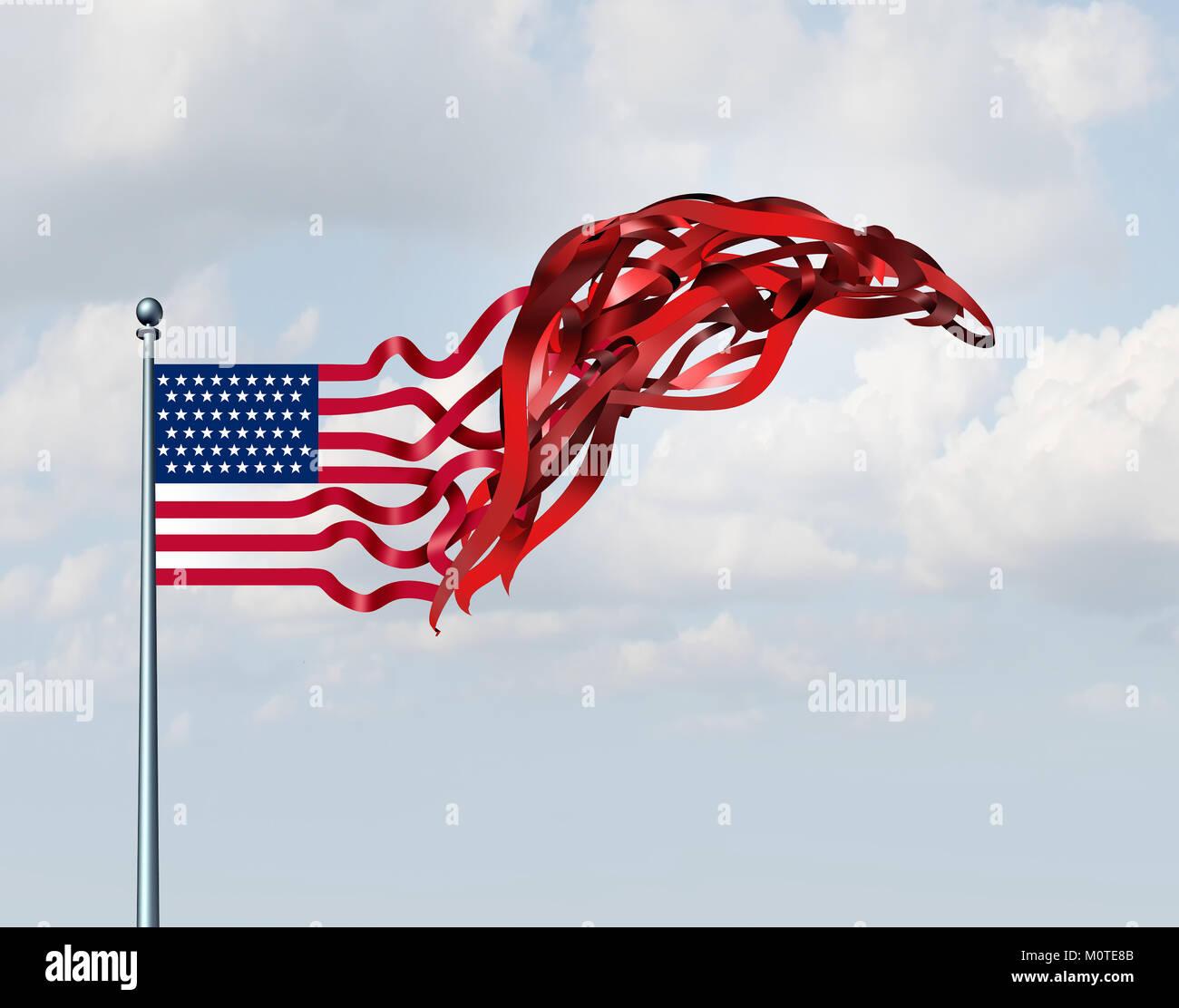 Regierung der Vereinigten Staaten Konzept wie eine amerikanische Flagge als politische Satire mit 3D-Illustration Stockbild