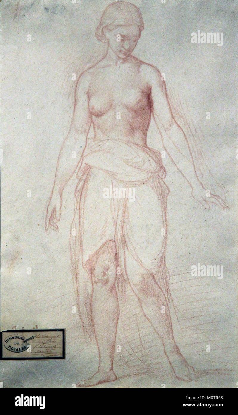 Studie eines weiblichen Figur 1838 von Eduardo Rosales Gallina 1836-1873 Stockbild