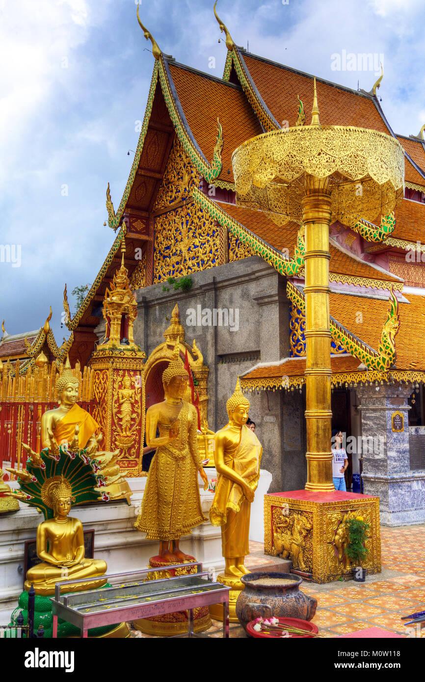 Asien, Thailand, Chiang Mai, Wat Phra That Doi Suthep Tempel Stockbild