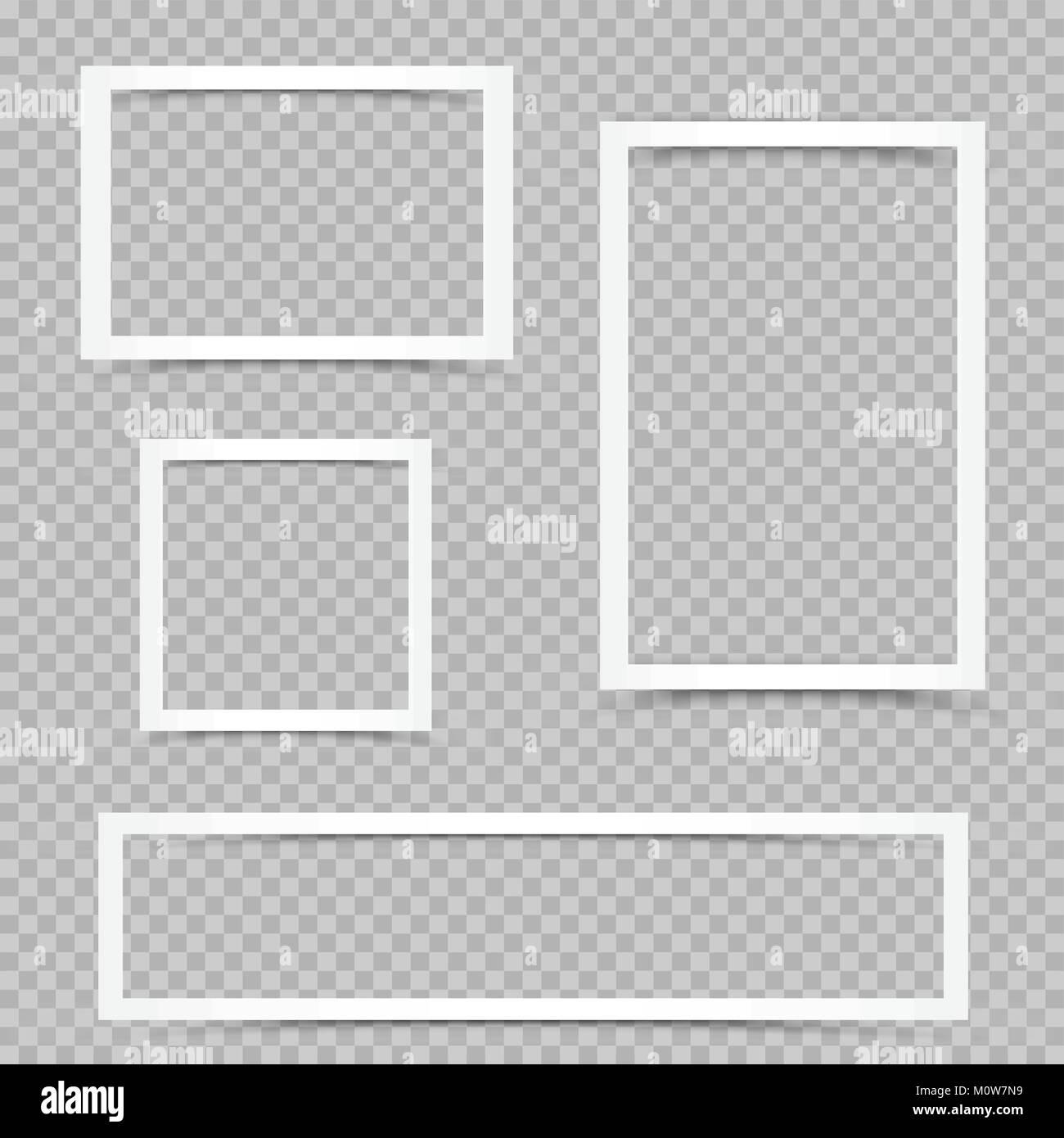 Weißes art Frames mit Schatten auf transparenten Hintergrund ...