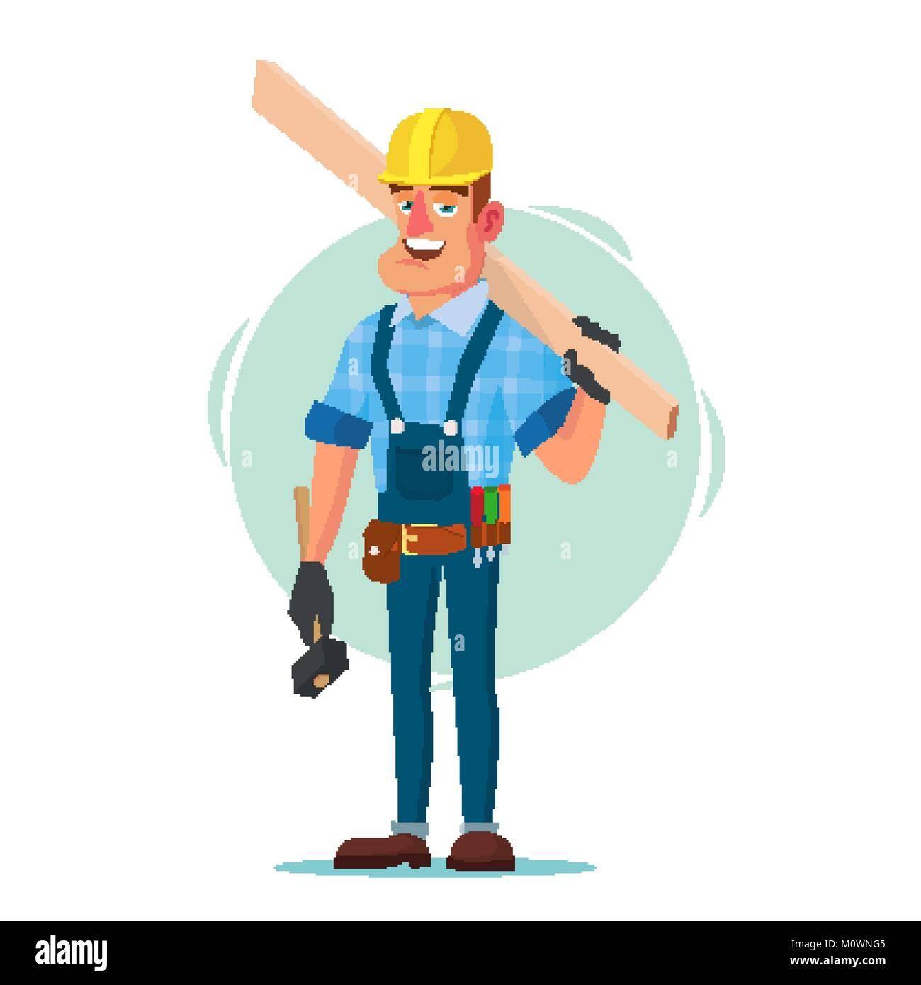 Holzrahmenhaus Bauarbeiter Vektor. Bauarbeiter auf die Gestaltung ...