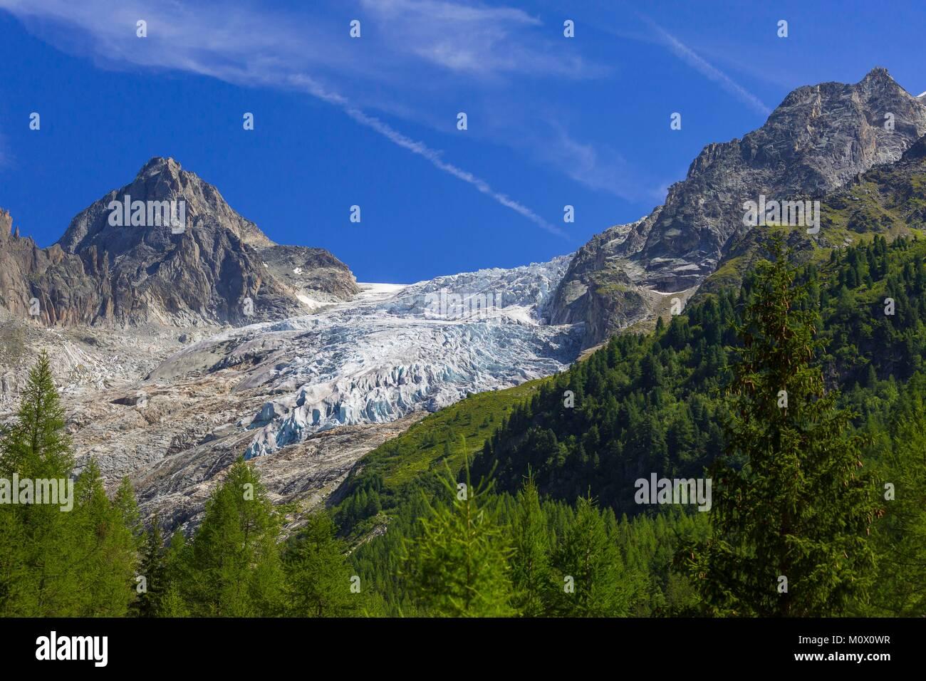 Schweiz, Wallis, Trient, Trient Gletscher, Mont-Blanc Massiv Stockbild