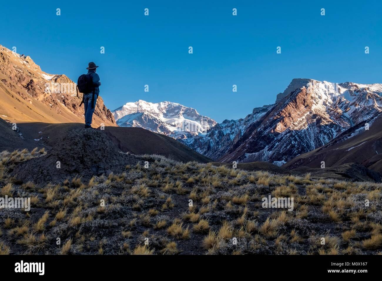 Argentinien, Mendoza, Provinz, Aconcagua Pronvicial Park, Mt Aconcagua (6692 m höchsten Berg außerhalb Stockbild