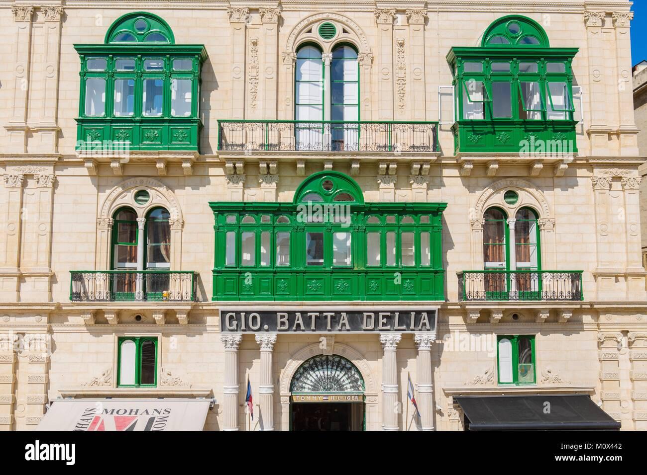 Malta, Valletta, als Weltkulturerbe von der UNESCO, Stadtzentrum aufgeführt, typische Behausung mit Bow-windows Stockbild