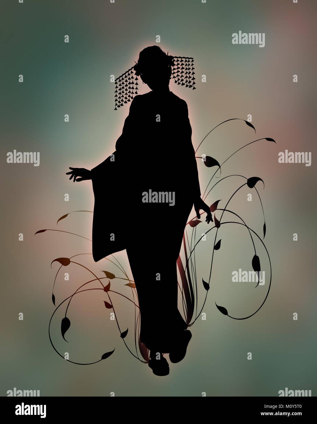 3d Computer Grafik auf, die die Silhouette eines Mädchens mit Kimono Stockbild