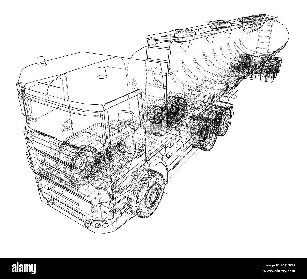 Öl Lkw Skizze Abbildung Vektor Abbildung - Bild: 172743192 - Alamy