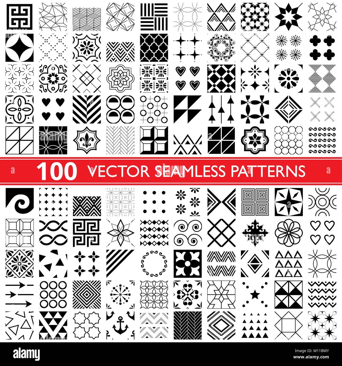 Fantastisch 100 Vector Nahtlose Muster Sammlung, Geometrische Universelle Muster,  Fliesen Und Tapeten   Big Pack