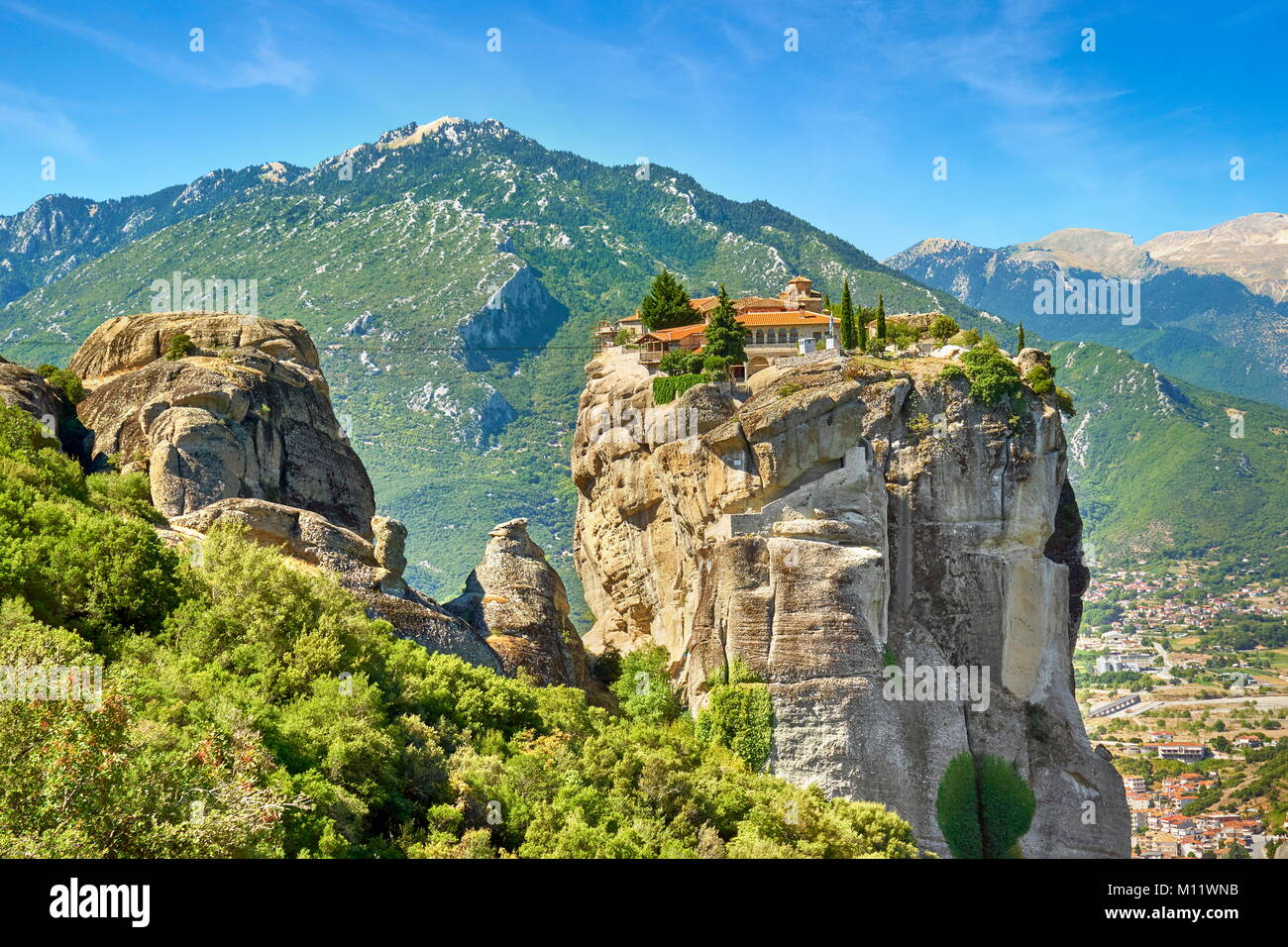 Kloster der Heiligen Dreifaltigkeit von Meteora, Trikala, Griechenland Stockbild