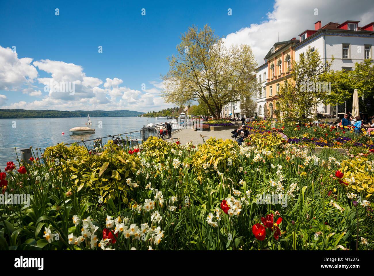 Die Strandpromenade Mit Blumenbeeten Uberlingen Bodensee Baden