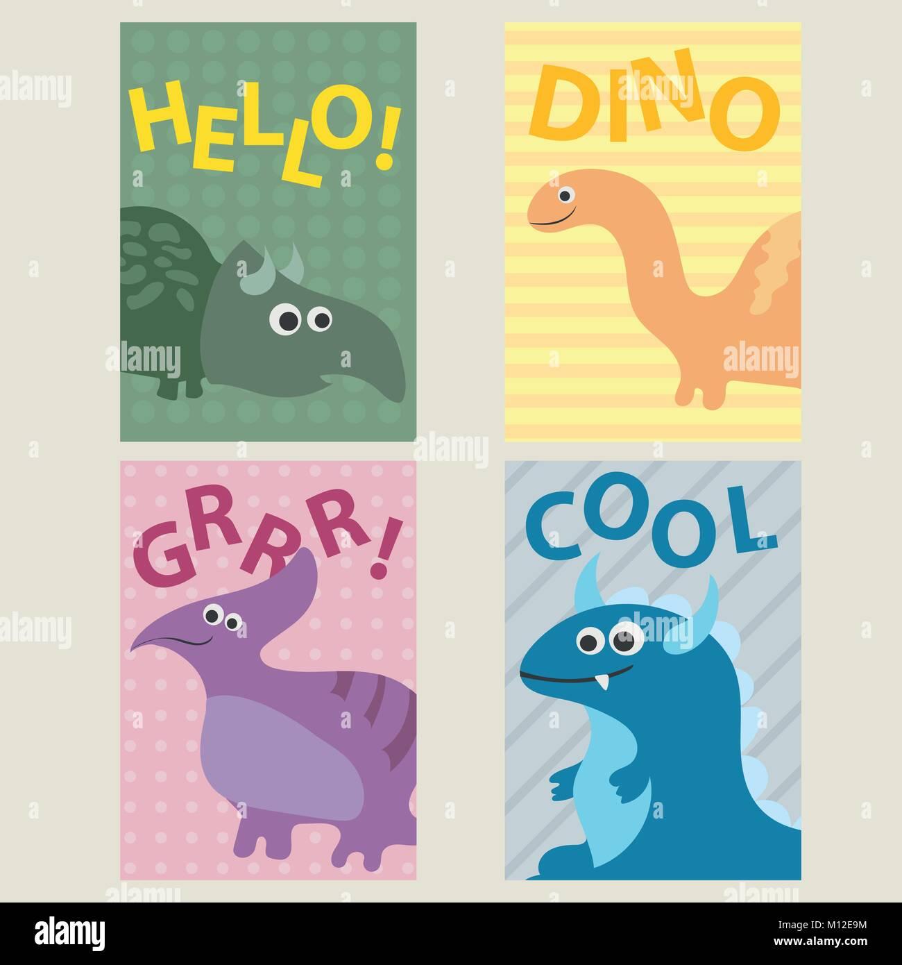 Set mit 4 Karten Vorlagen mit Dinosaurier für Geburtstage ...