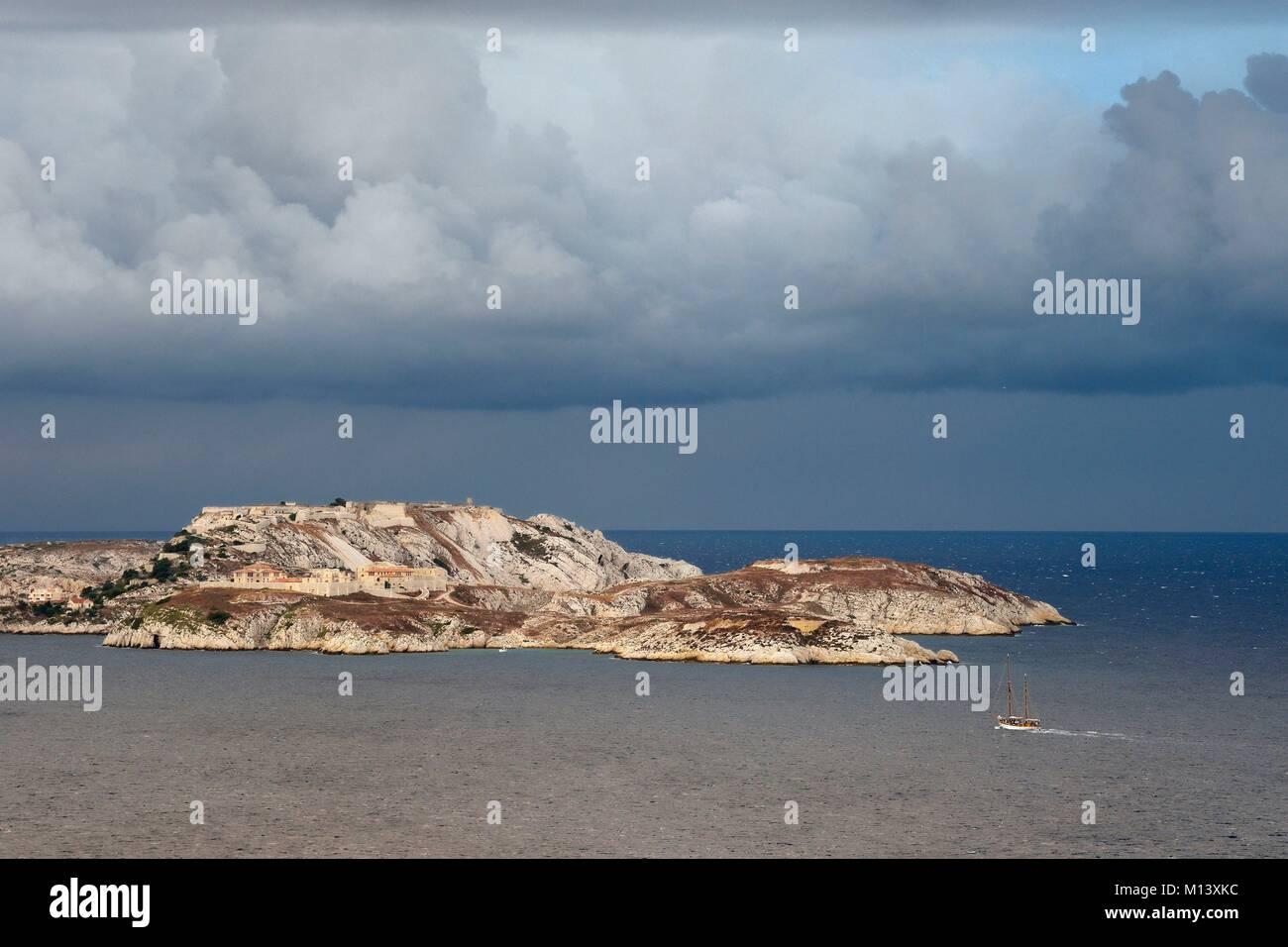 Frankreich, Bouches-du-Rhone, Marseille, Calanques Nationalpark, Archipel von Frioul-inseln, Ratonneau Insel, die Stockbild