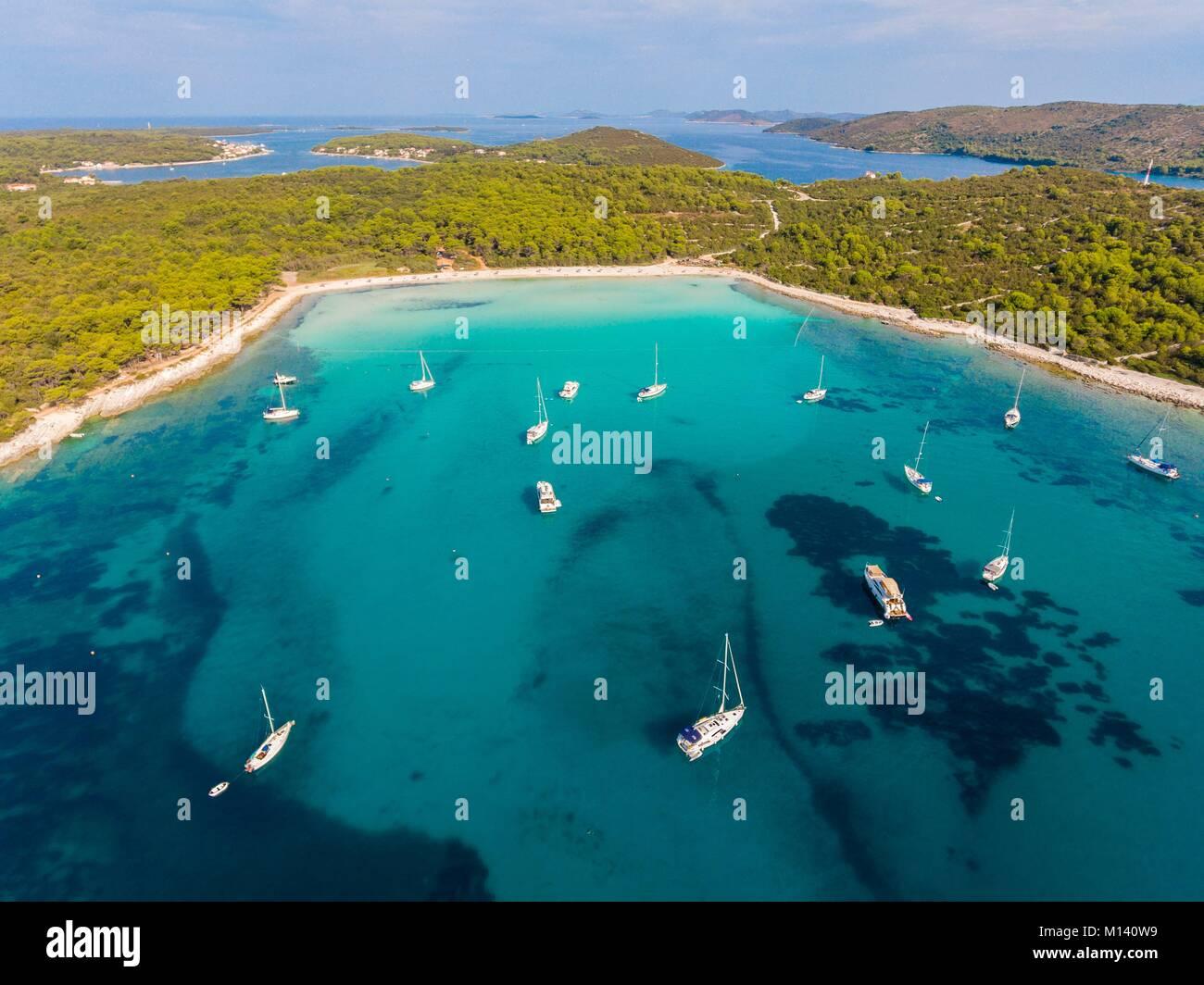 Kroatien, Dalmatien, Dalmatinischen Küste, Zadar, Insel Dugi Otok, Sakarun Strand (Luftbild) Stockbild