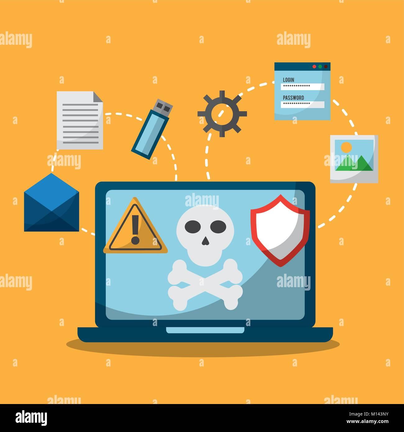 Laptop Spectre und Einschmelzen Malwareangriff Stockbild