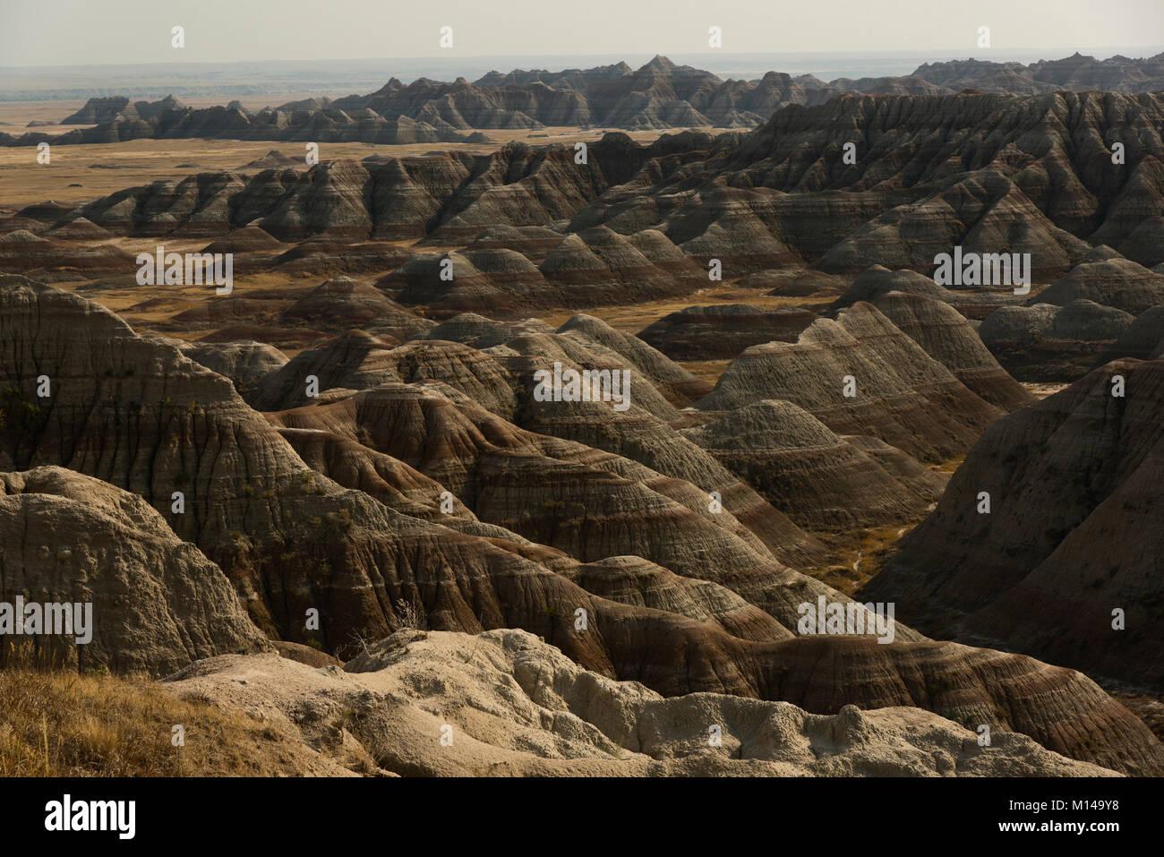 Nachmittag, die conata Basin, die Badlands, South Dakota, USA. Stockbild