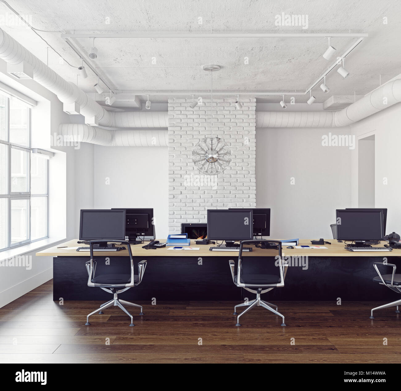 Moderne loft office Interieur. Moderne Geschäftskonzept. 3D ...