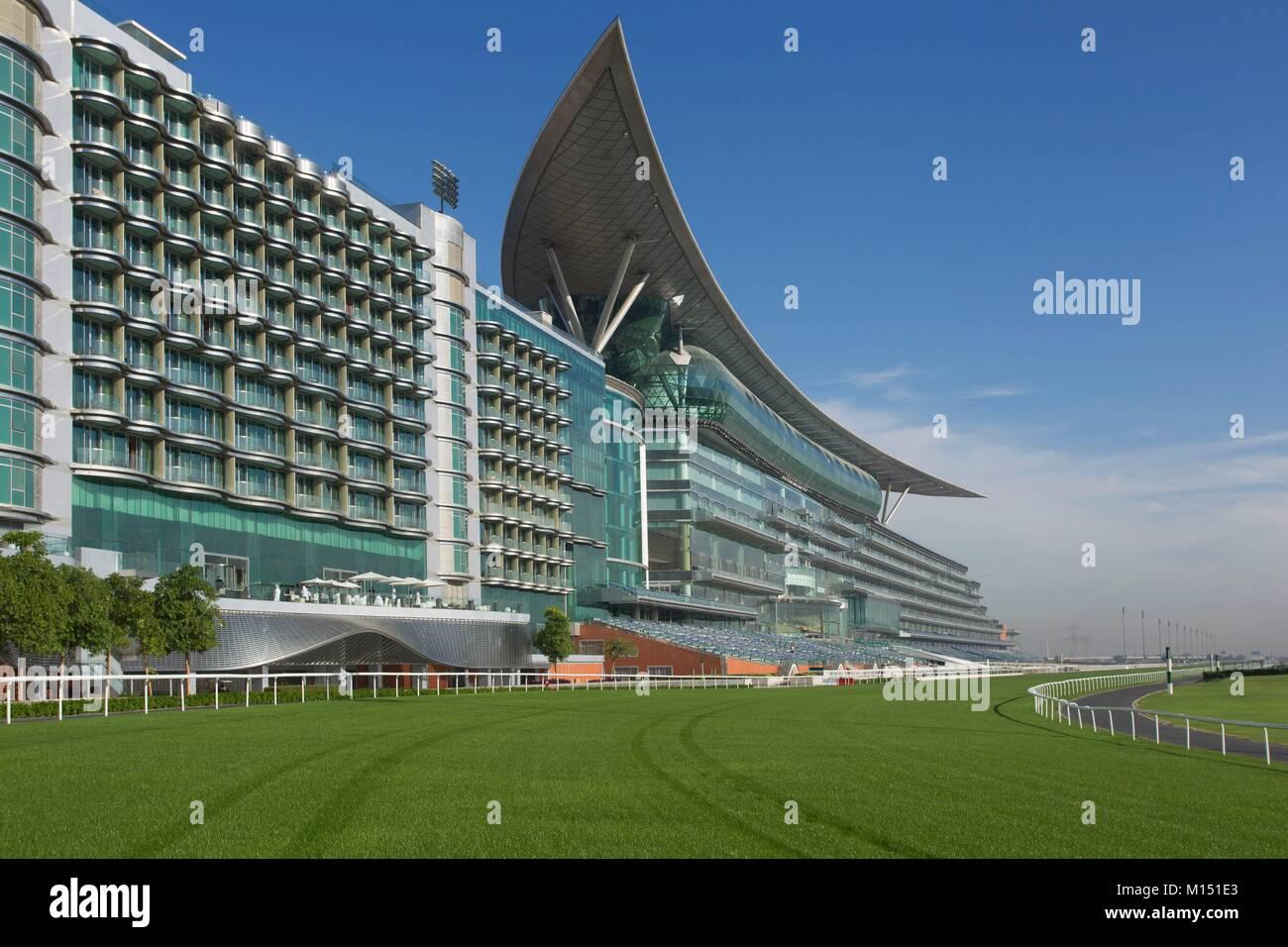Vereinigte Arabische Emirate, Dubai, Meydan Rennstrecke Stockbild