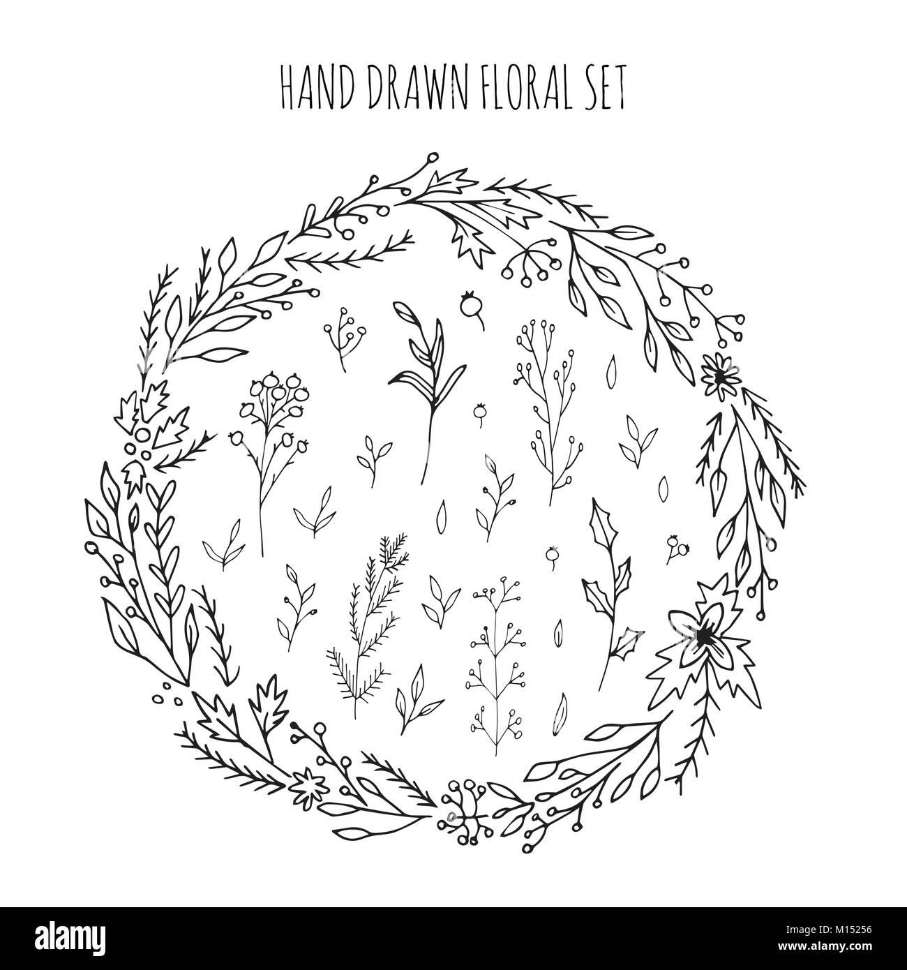Wunderbar Sammlung Von Hand Gezeichnet Vektor Blüten Und Zweige Mit Blättern, Blüten  Und Beeren. Moderne Skizze Sammlung. Dekorative Elemente Für Design. Tinte,  Vin