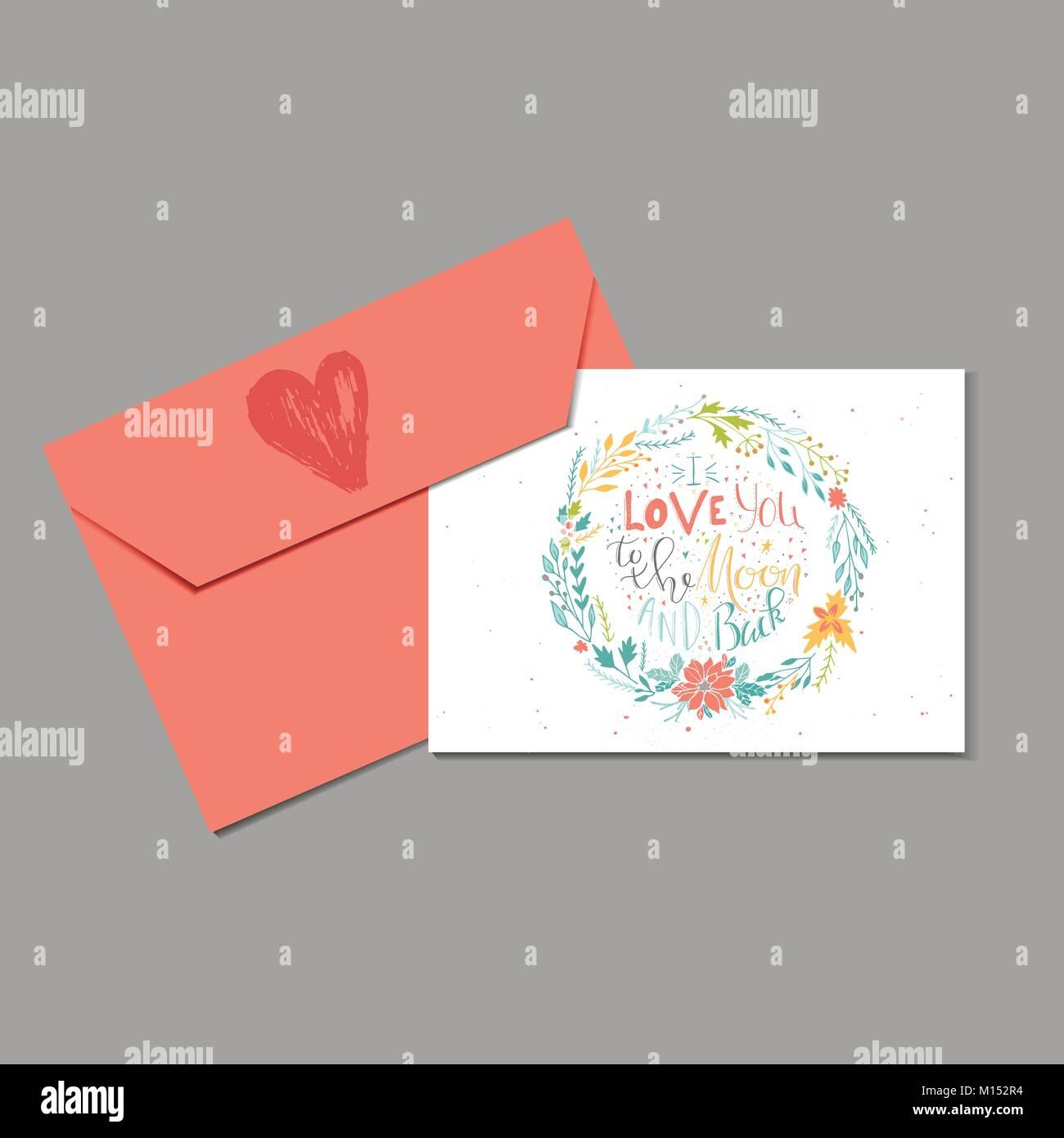 Entzückend Ich Liebe Dich Bis Zum Mond Referenz Von Schönen Valentinstag Geschenk Karte Mit Umschlag Herz