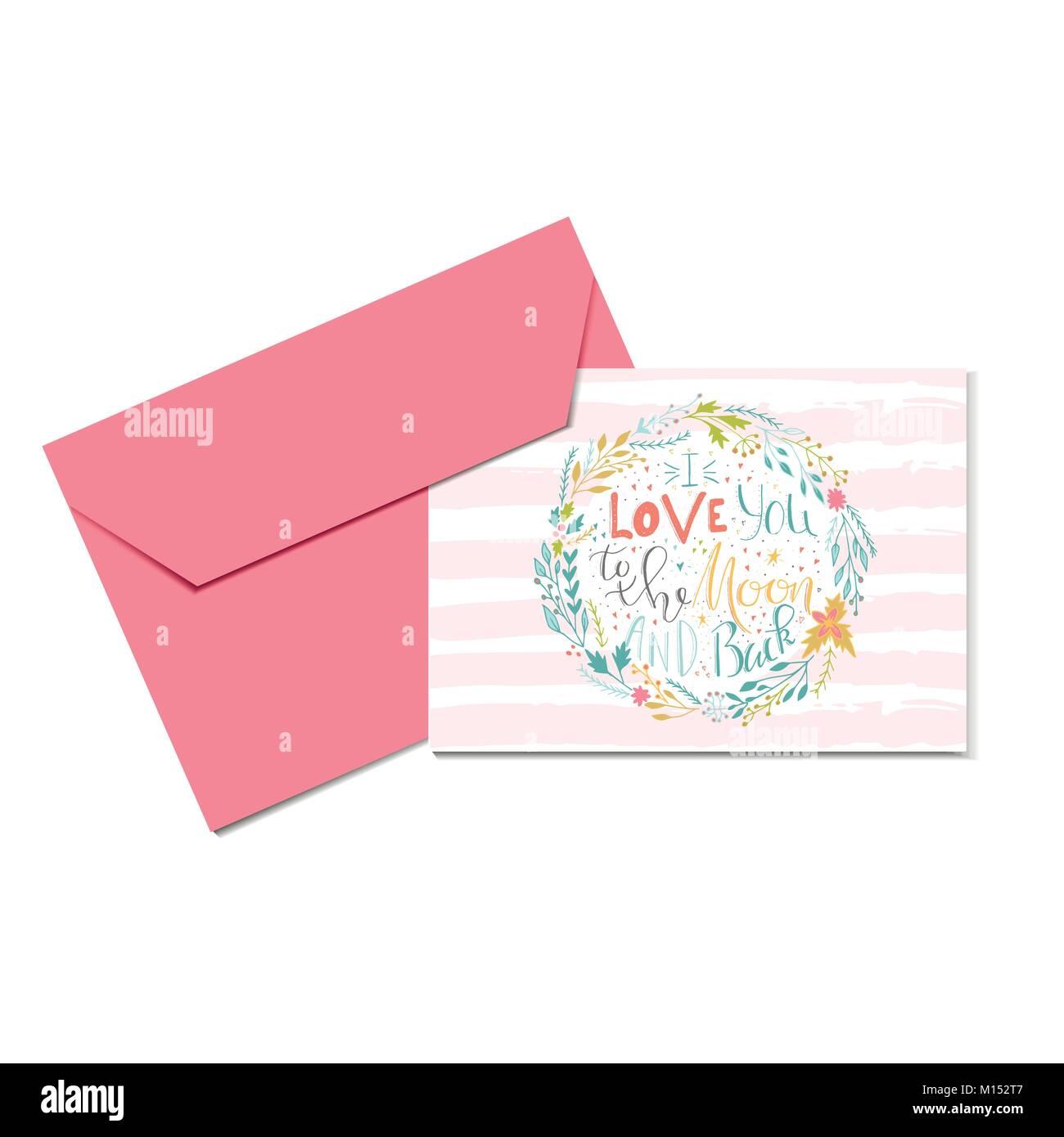 Eitelkeit Ich Liebe Dich Bis Zum Mond Das Beste Von Schönen Valentinstag Geschenk Karte Mit Kranz Herz