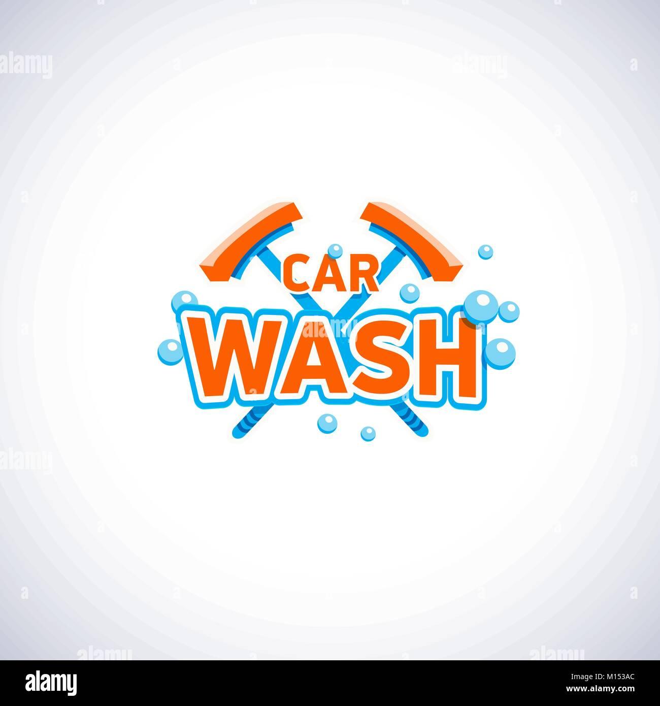 Auto waschen Cartoon Stil Emblem mit Blasen und Mop, isolierte ...