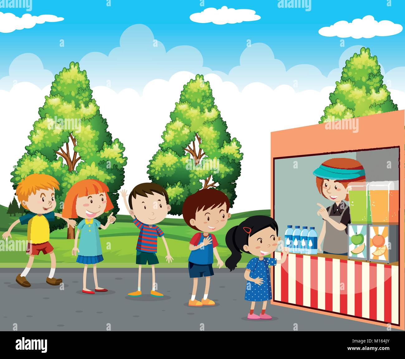 Kinder Getränke kaufen in park Abbildung Vektor Abbildung - Bild ...