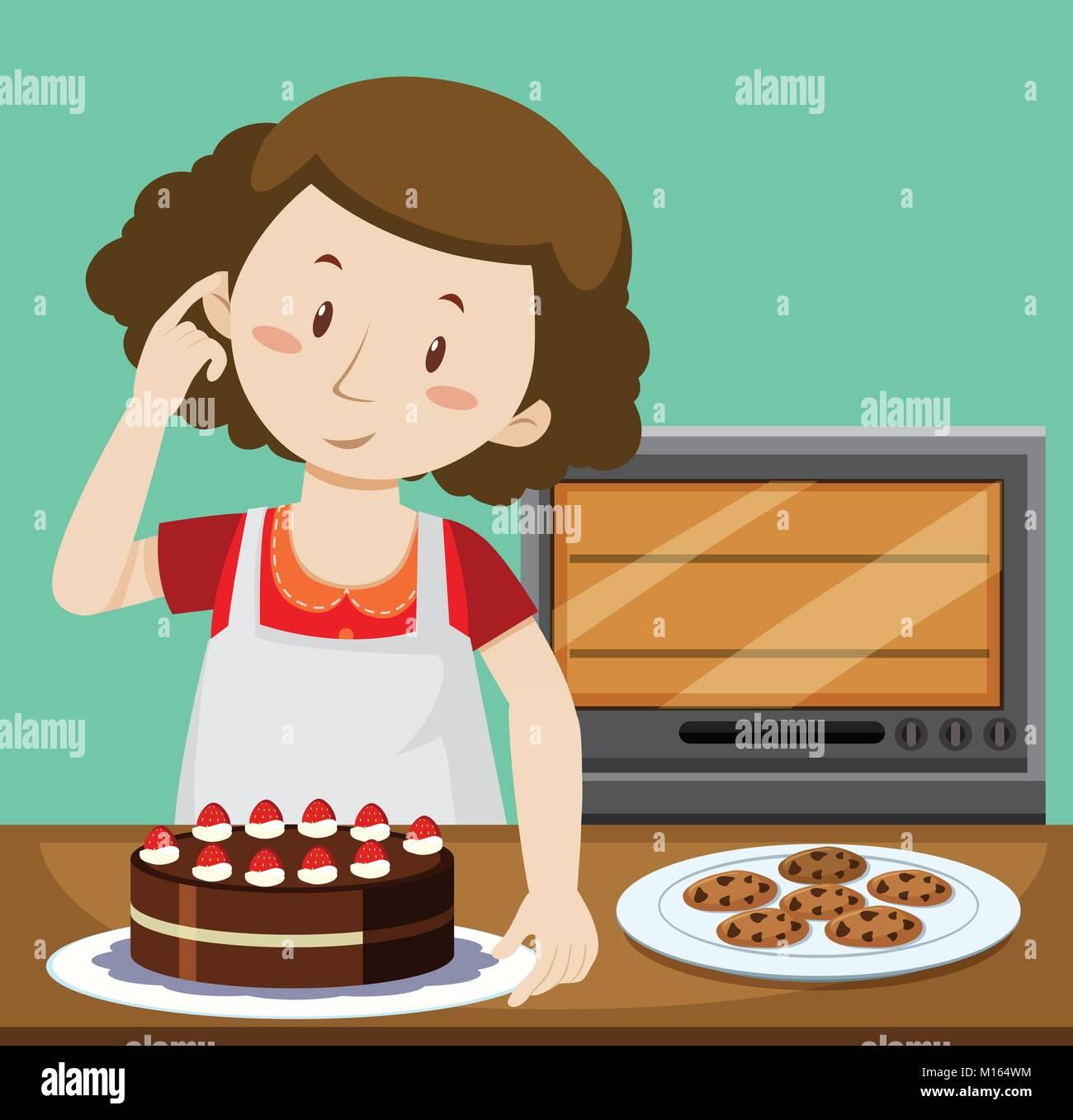Frau Backen Kuchen Und Kekse Abbildung Vektor Abbildung Bild