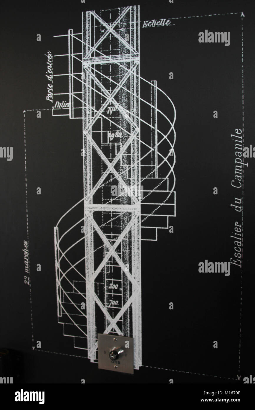Zeichnung - ein beschriftetes Diagramm der Treppe der Glockenturm im ...