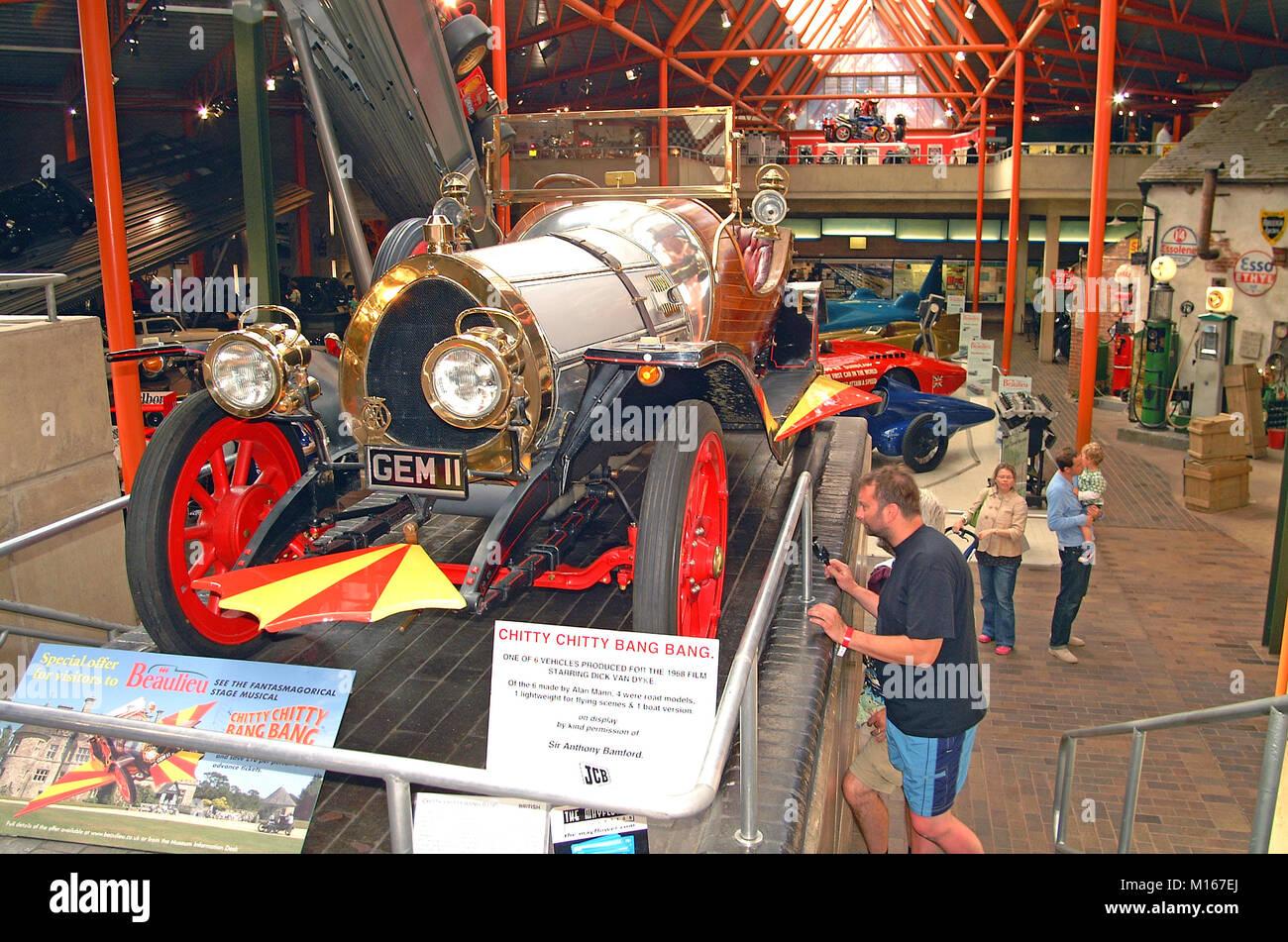 Chitty Chitty Bang Bang Auto innen das National Motor Museum in Beaulieu, New Forest, Hampshire, England, Großbritannien, Stockbild