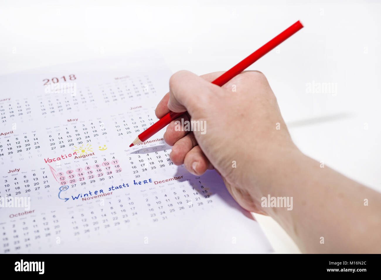 Urlaub Kalender des Jahres 2018. Abstrakte Idee. Stockbild