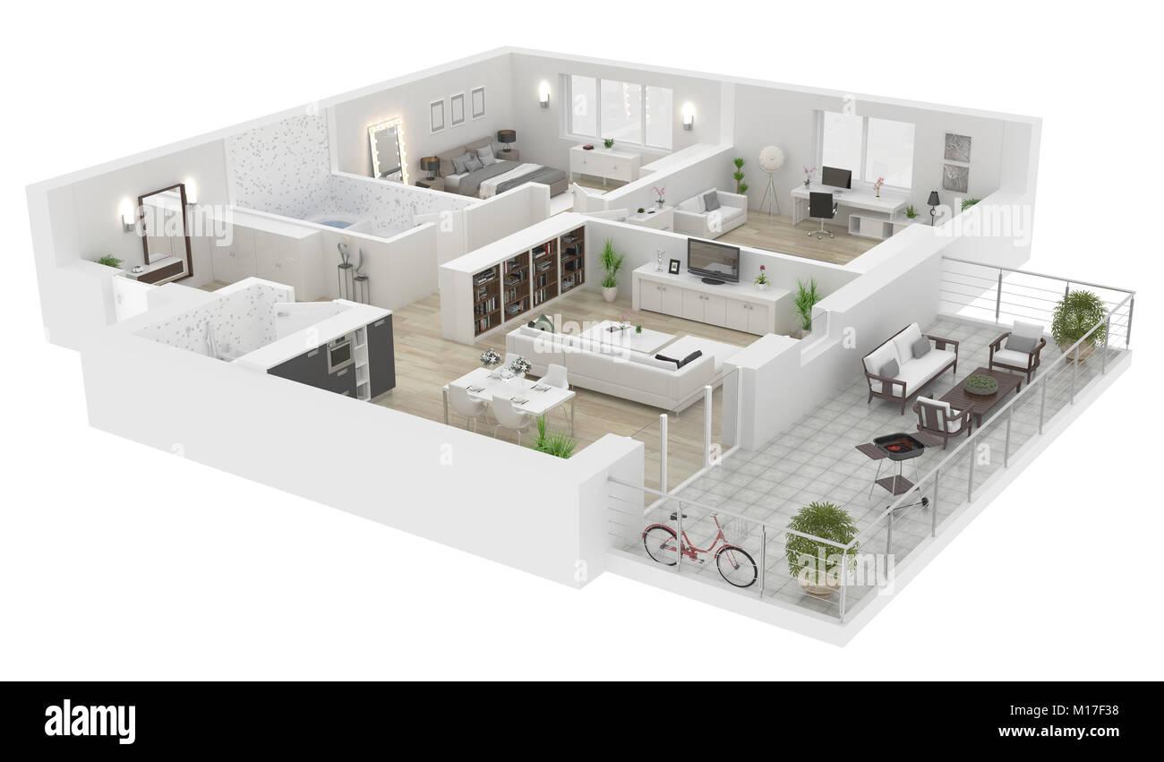 Superior Grundriss Ansicht Von Oben. Apartment Innenraum Auf Weißem Hintergrund.  3D Rendering