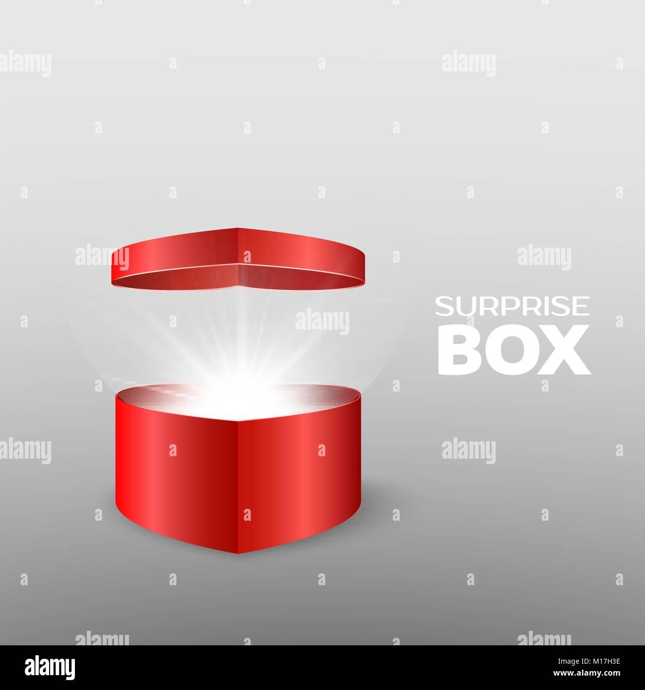 Geschenk Box in Form eines Herzen öffnen. Romantisches Geschenk für ...