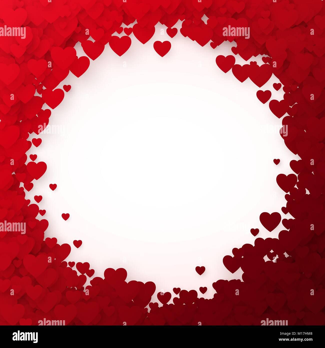 Rotes Herz Rahmen. Herz Konfetti Rahmen für Banner. Valentines Tag ...