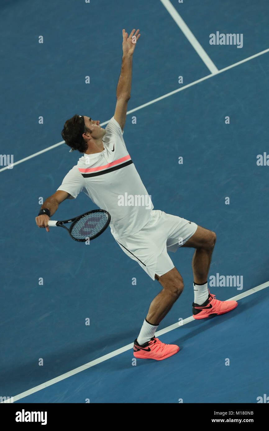 Melbourne, Australien. 28. Januar 2018. Schweizer Tennisspieler Roger Federer ist in Aktion während seiner Finale Stockfoto