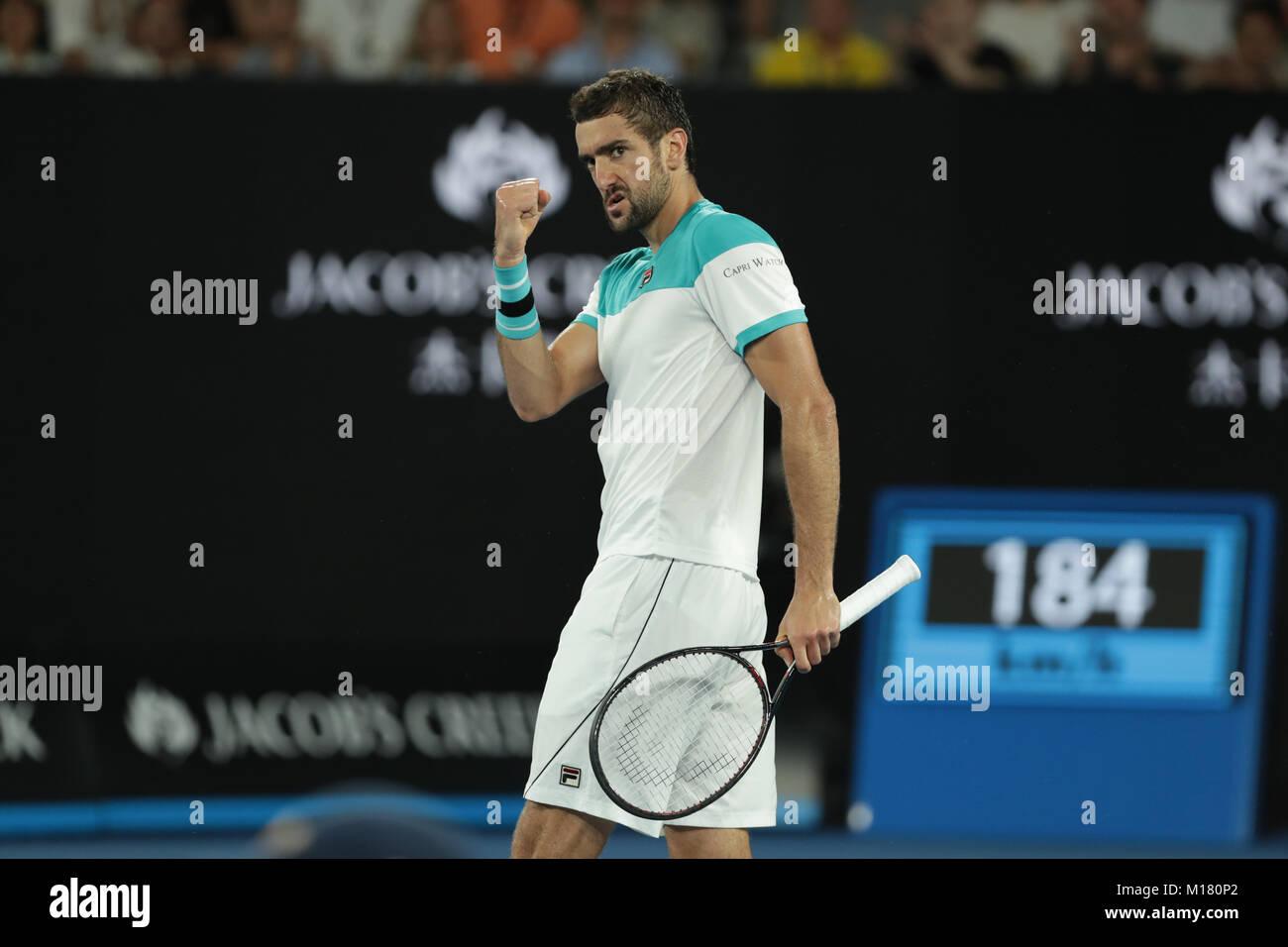 Melbourne, Australien. 28. Januar 2018. Bosniakische tennis player Marin Cilic ist in Aktion während seiner Finale Stockfoto