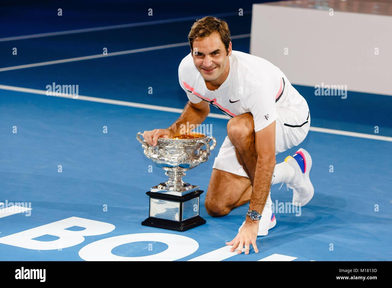 Melbourne, Australien, 28. Januar 2018: Schweizer Tennisspieler Roger Federer gewinnt sein 20 Grand Slam Titel bei Stockfoto