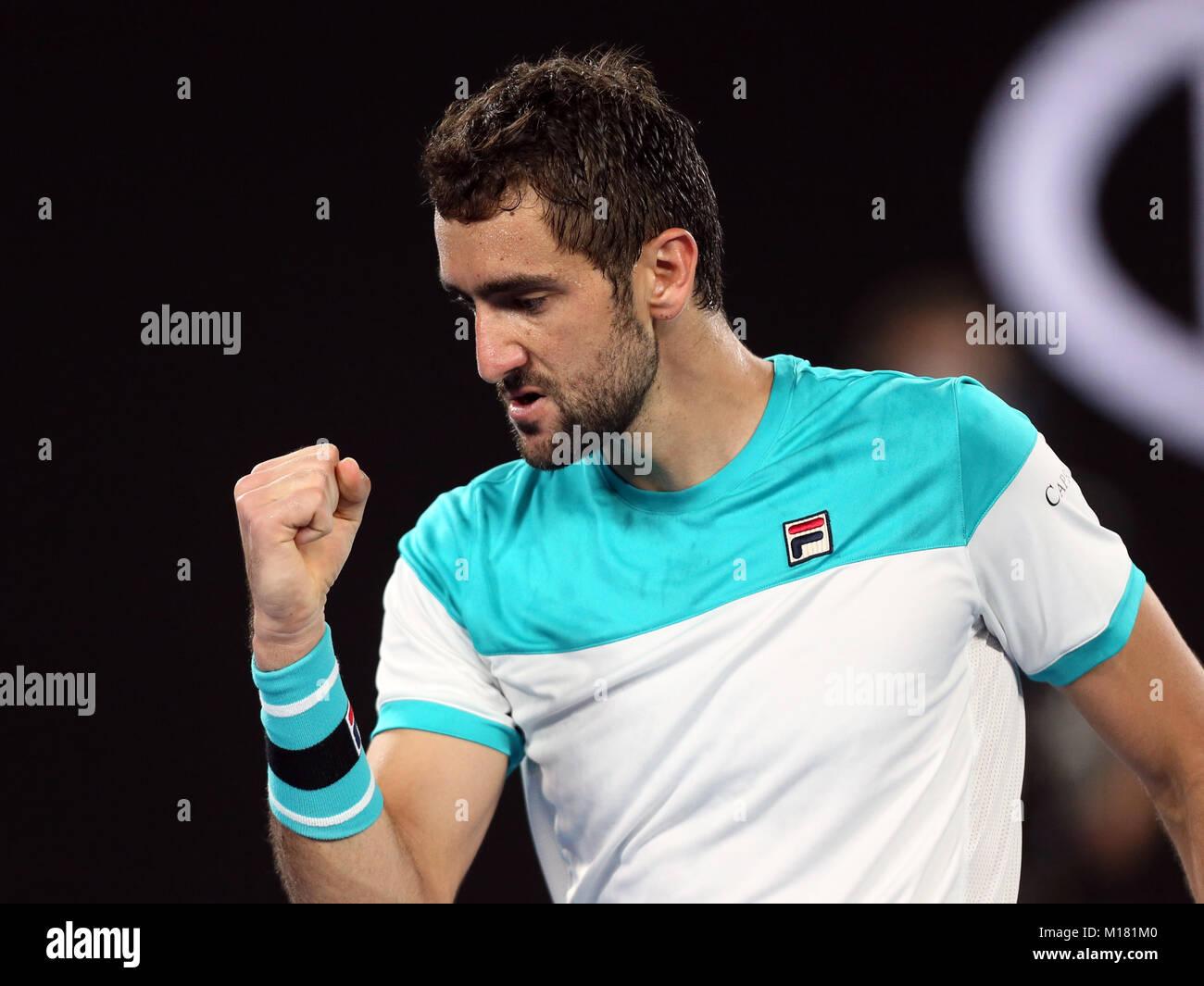 Melbourne, Australien. 28 Jan, 2018. Kroatiens Marin Cilic feiert während der Männer singles Finale gegen die Schweizer Stockfoto