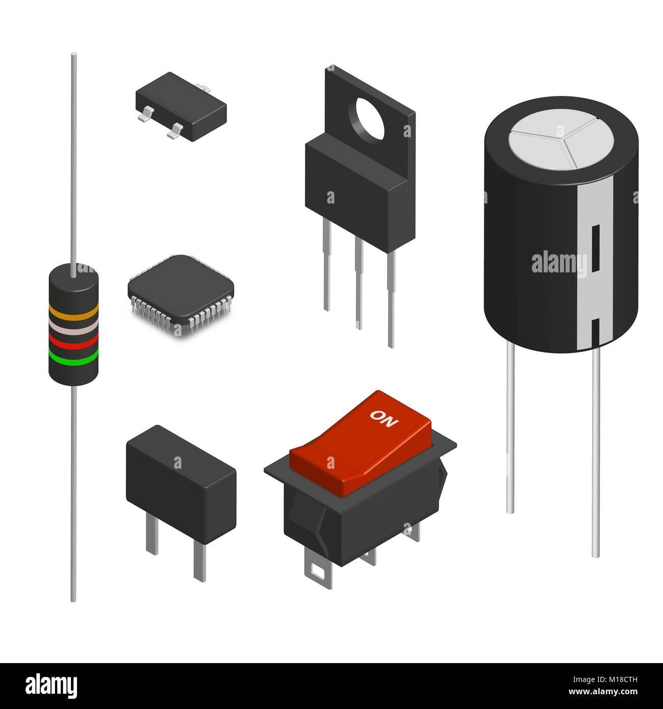 Groß Symbole Für Elektronische Komponenten Bilder - Elektrische ...