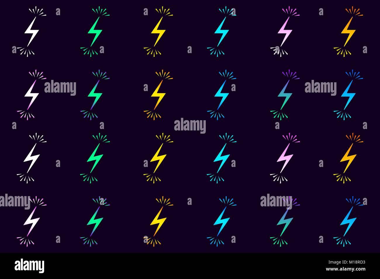 Sammlung von Elektrische Zeichen mit Funken. Vector Illustration der ...