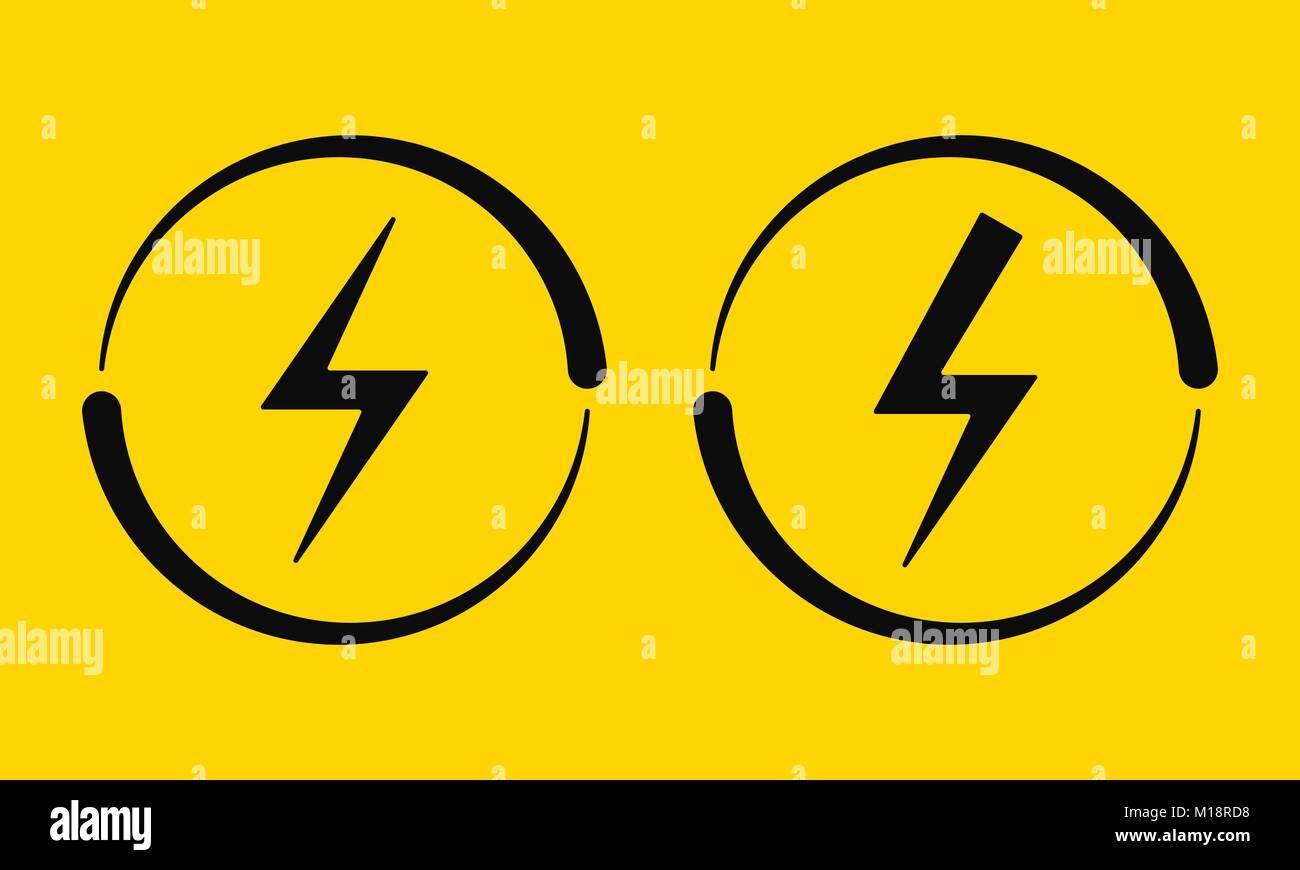 Elektrische Zeichen. Vector Illustration der elektrischen Energie ...