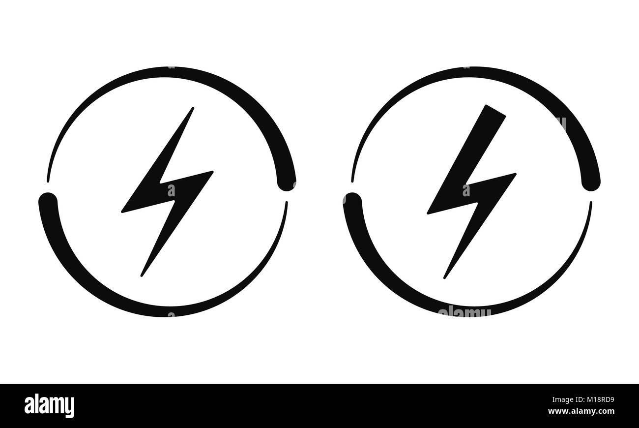 Elektrische Zeichen. Vektor Symbol der elektrischen Energie Symbol ...