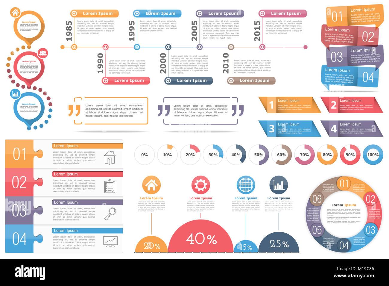 Infografik Elemente - Kreis Diagramm, Timeline ...